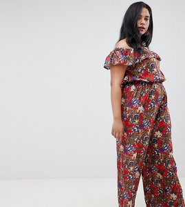 Read more about Nvme floral bardot jumpsuit with frill detail - red print