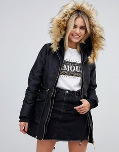 Read more about Stella morgan parka coat with faux fur trim and drawstring waist - black