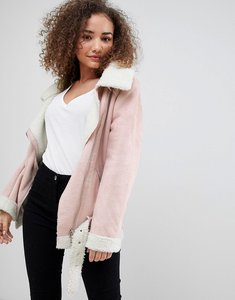 Read more about Parisian faux suede aviator jacket - beige