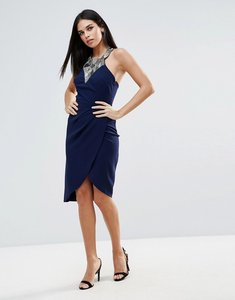 Read more about Little mistress embellished wrap front midi dress - navy