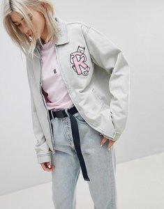 Read more about Ripndip boyfriend denim jacket with embroidered logo and contrast gingham lining - light blue