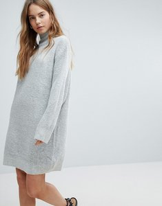 Read more about Bershka high neck knitted jumper dress - grey