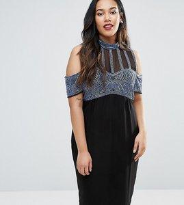 Read more about Asos curve embellished stripe high neck cold shoulder midi dress - black blue