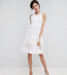 Read more about True decadence tall wrap front allover lace crochet full prom dress - white