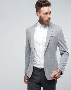 Read more about Asos design super skinny blazer in grey jersey - grey