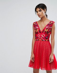Read more about French connection alice lace v neck dress - watermelon