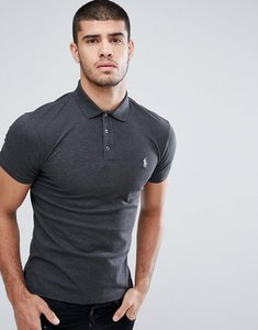 Read more about Polo ralph lauren stretch pique polo slim fit in charcoal marl - windsor heather