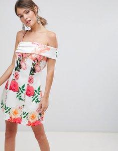 Read more about Asos design asymmetric strap floral a line mini dress - floral print