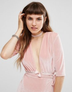 Read more about Johnny loves rosie blush tassel choker - gold blush
