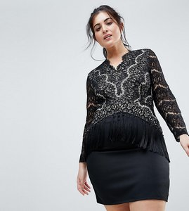 Read more about Club l plus lace plunge dress with tassel details - black