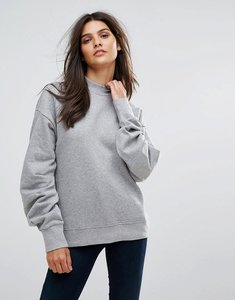 Read more about Vero moda pleated sleeve sweater - grey