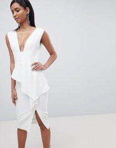 Read more about Lavish alice asymmetric plunge front midi dress - white