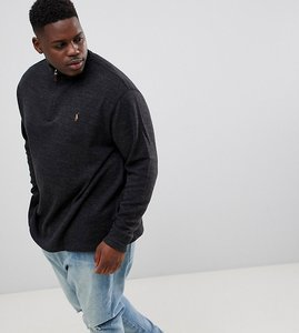 Read more about Polo ralph lauren big tall half zip cotton knit jumper multi player logo in charcoal marl - charcoa