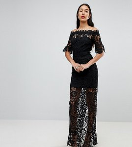 Read more about Paper dolls tall off shoulder crochet maxi dress with frill sleeve - black