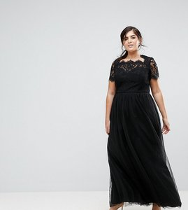 Read more about Chi chi london plus maxi tulle dress with lace up back - black