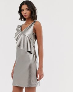 Read more about Vila metallic shift dress with frill detail - silver