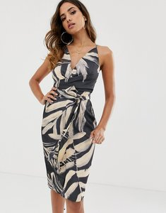 Read more about Asos design midi dress with wrap waist in satin in tropical print