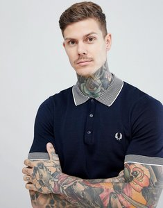 Read more about Fred perry riviera stripe tipped knitted polo in navy - e97