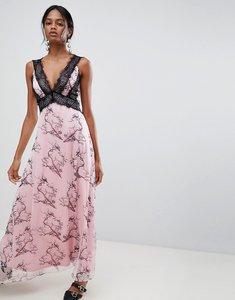 Read more about Liquorish bird print maxi dress with lace inserts