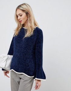Read more about Stella morgan trumpet sleeve jumper with contrast hem - navy