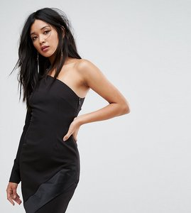 Read more about Vesper one shoulder mini dress with long sleeves and asymmetric hem - black