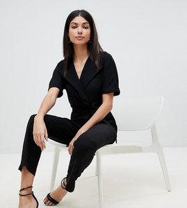 Read more about Asos design tall wrap jumpsuit with self belt - black