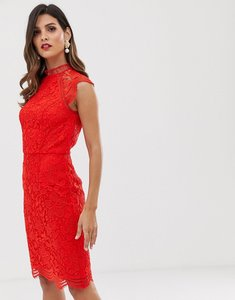 Read more about Chi chi london scallop lace pencil dress in red