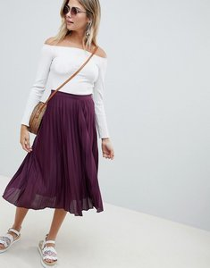 Read more about Asos design pleated midi skirt in jersey crepe - wine