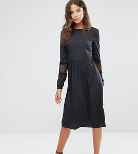 Read more about Asos tall long sleeve midi dress with lace insert - black