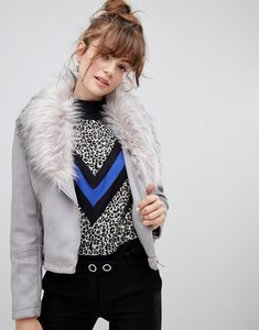 Read more about New look faux fur collar suedette biker jacket - light grey
