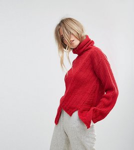 Read more about Oneon hand knitted asymmetric high neck jumper - red