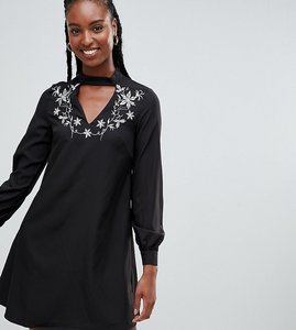 Read more about Glamorous tall a-line dress with embroidered choker neck - black