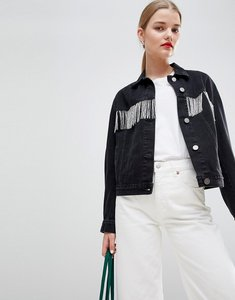 Read more about Asos denim jacket in washed black with beaded fringing - washed black