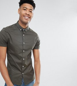 Read more about Asos tall skinny shirt in khaki with button down collar - khaki