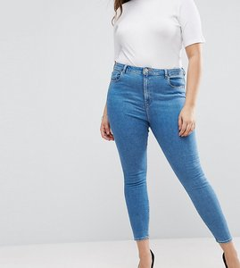 Read more about Asos curve ridley high waist skinny jean in lily mid wash blue - blue