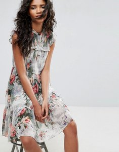 Read more about Needle thread floral print high neck midi dress - multi