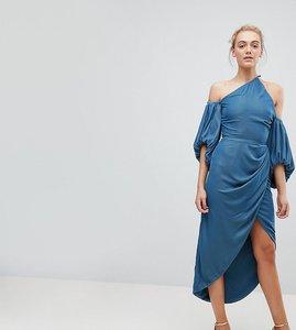 Read more about Asos tall one shoulder velvet drape midi dress - dusky blue
