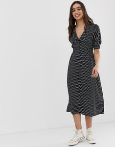 Read more about Asos design button through midi tea dress with shirred waist in spot print