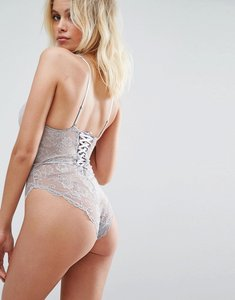 Read more about Asos blair high leg lace body with lace up back - grey