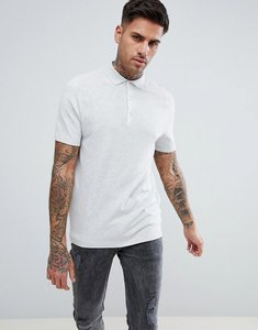 Read more about New look slim textured polo in light grey - light grey