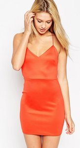 Read more about Asos cut out back mini bodycon dress - orange