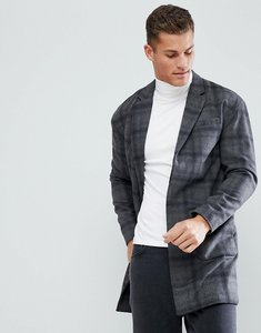 Read more about Stradivarius check overcoat in grey - grey
