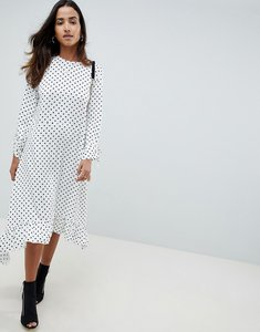Read more about Asos design soft trapeze midi dress with pephem in spot - multi