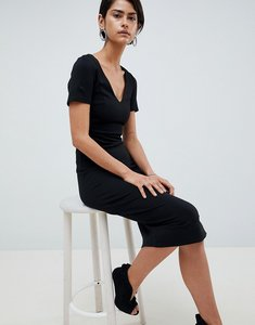 Read more about French connection lula midi pencil dress - black