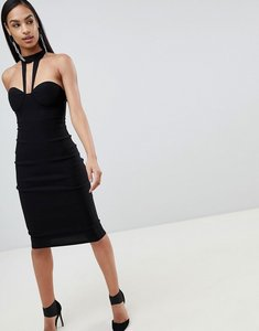 Read more about Rare london high neck detail midi dress - black