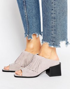 Read more about Sol sana fringe suede mid heeled mules - dust suede