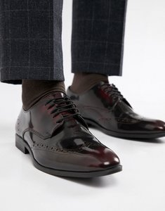 Read more about Asos design brogue shoes in burgundy leather - burgundy
