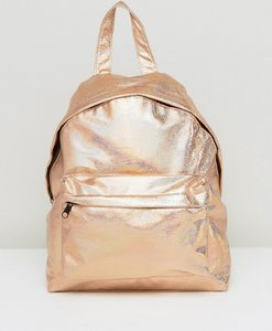 Read more about Asos textured metallic hologram backpack - rose gold