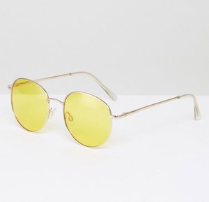 Read more about Asos 90s round sunglasses with yellow coloured lens - gold