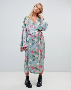 Read more about Glamorous floral satin maxi dress - green pink floral